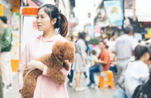 Chinese woman with a dog